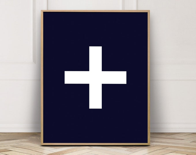 Navy Blue Cross Printable Wall Art, Navy Blue Wall Art Print, Nautical Bedroom Decor Print, Printable Poster