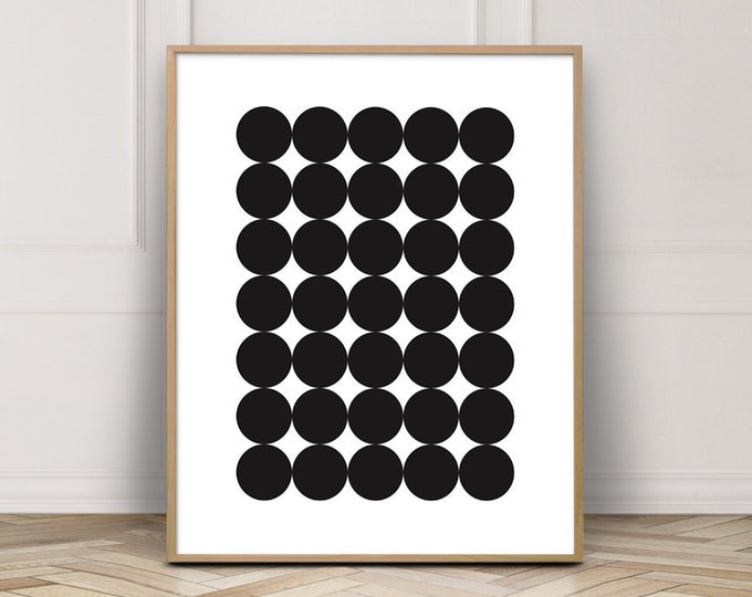 Black and White Circle Wall Art, Scandinavian Minimalist Printable Wall Art, Geometric Wall Art Print