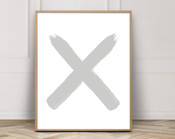 Grey and White Letter X Print Bedroom Art Print, Gallery Wall Print, Cross Print Printable Wall Art
