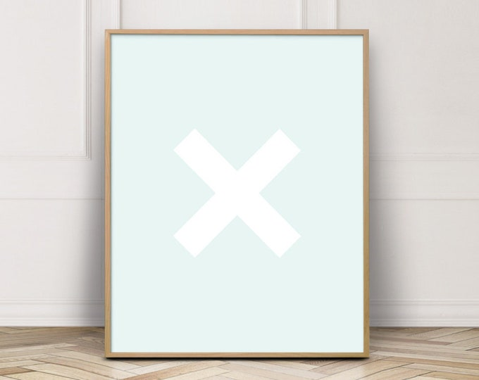 Light Blue Cross Printable Wall Art, Cross Wall Art Print, Bathroom Wall Decor Print, Digital Prints