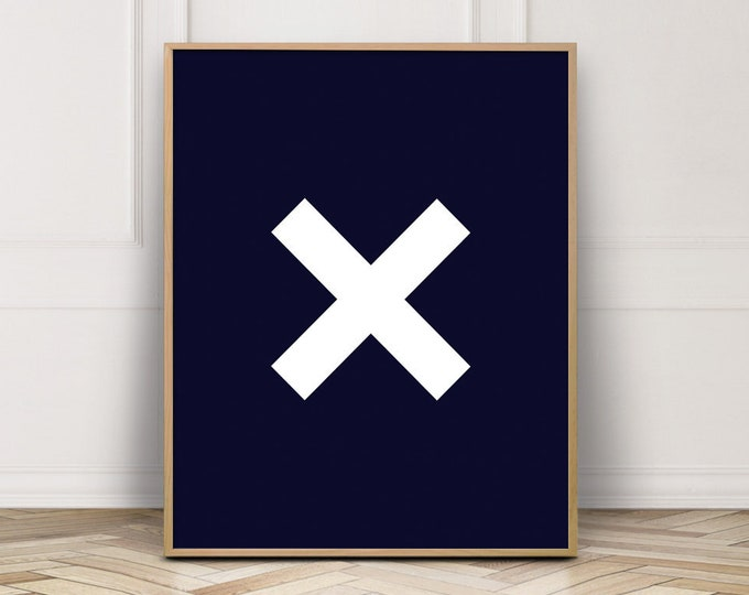Navy Blue Wall Art Print, Navy Blue Cross Printable Wall Art, Bedroom Decor Print, Digital Prints