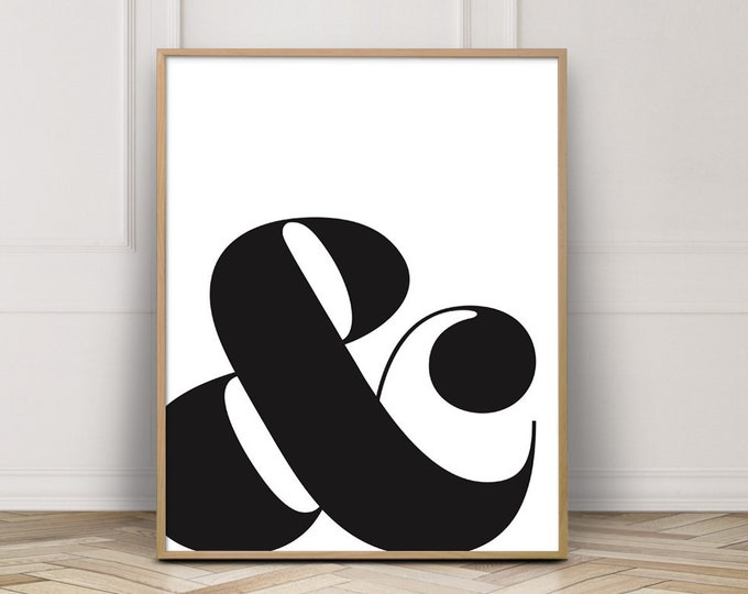 Ampersand And Symbol Typographic Poster Print, Ampersand Art Print, Typography Wall Art Print,