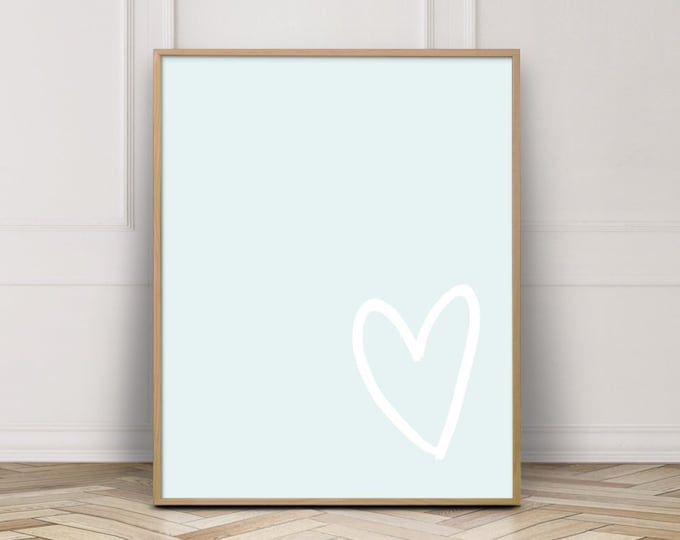 Simple Heart Gallery Wall Printable, Bedroom Decor Poster, Baby Blue Wall Art Printable, Pastel Wall Art Print