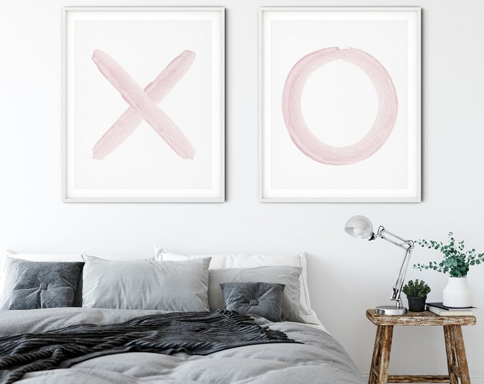 XO Print Set Blush Pink, Modern Wall Art Print Set of 2, Bedroom Decor Print, Wall Art Printable