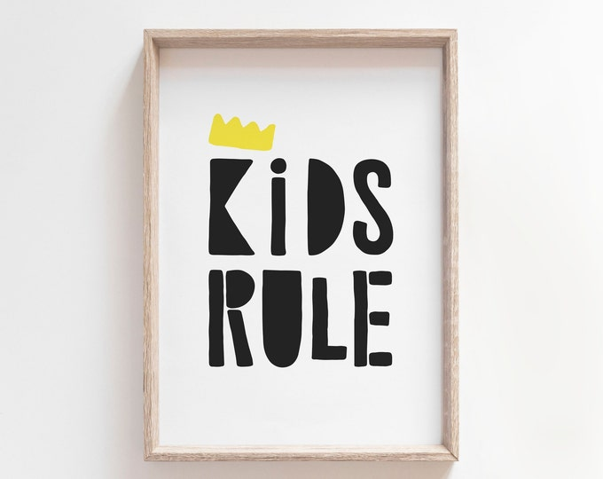 Kids Bedroom Decor Print, Kids Rule Print, Printable Wall Art