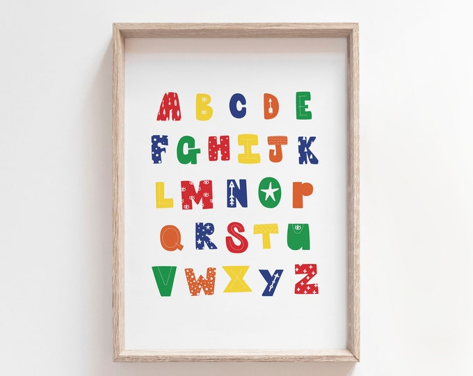 Alphabet Poster Print Modern Nursery Decor, ABC Wall Art Print, Alphabet Print, Kids Room Art, Printable Poster