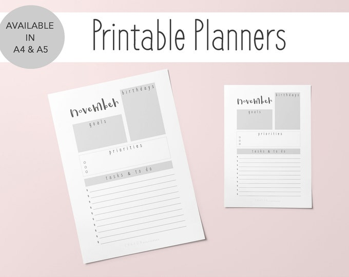 2019 Printable Monthly Planner To Do List, Goal Tracker, Set of 2 A4 & A5 Sizes, Planner Month Of November