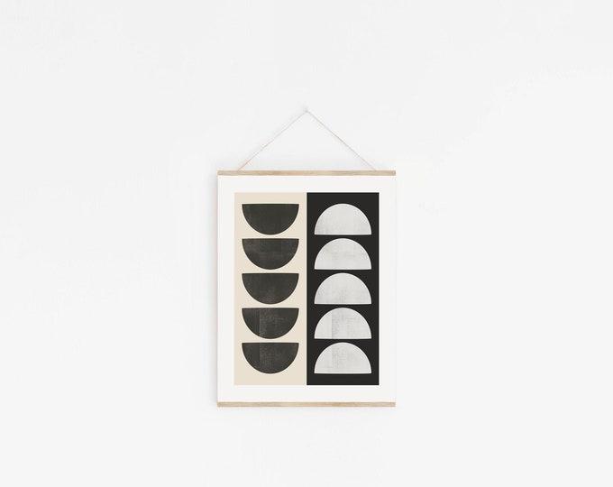 Abstract Shapes Print Instant Download, Mid Century Abstract Circles Printable Wall Art Digital Print, Neutral Tone Art Print
