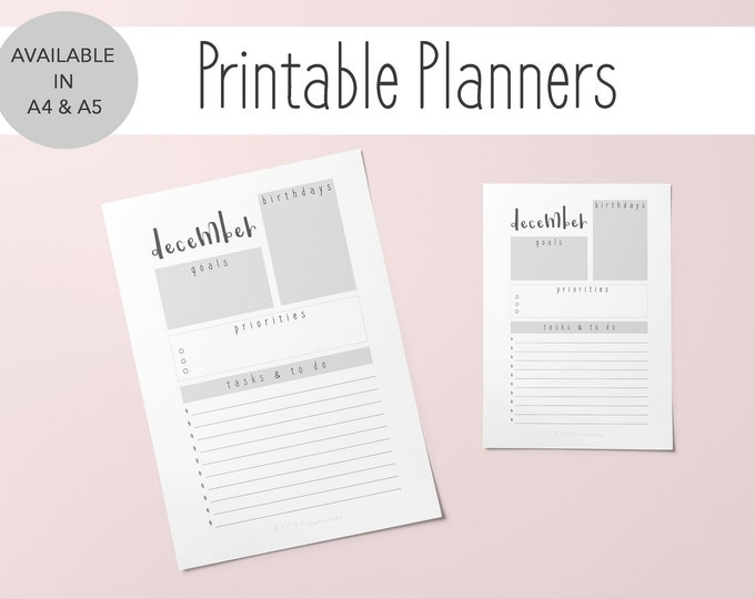 2019 Printable Monthly Planner To Do List, Goal Tracker, Set of 2 A4 & A5 Sizes, Planner Month Of December