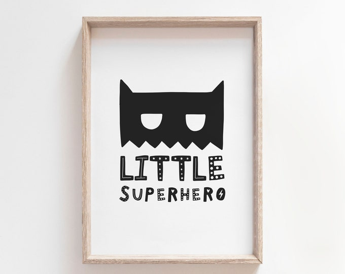 Kids Bedroom Decor Print, Little Superhero Print, Printable Wall Art