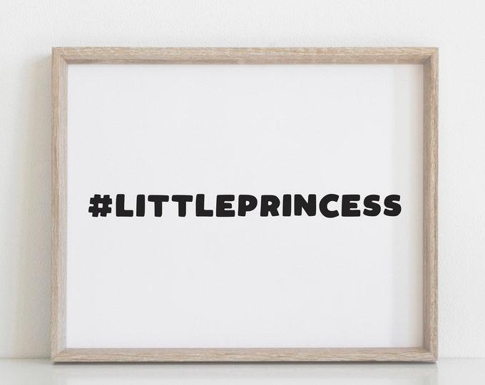 Little Princess Girls Nursery Decor Print, Modern Nursery Art, Scandinavian Nursery Decor, Digital Prints