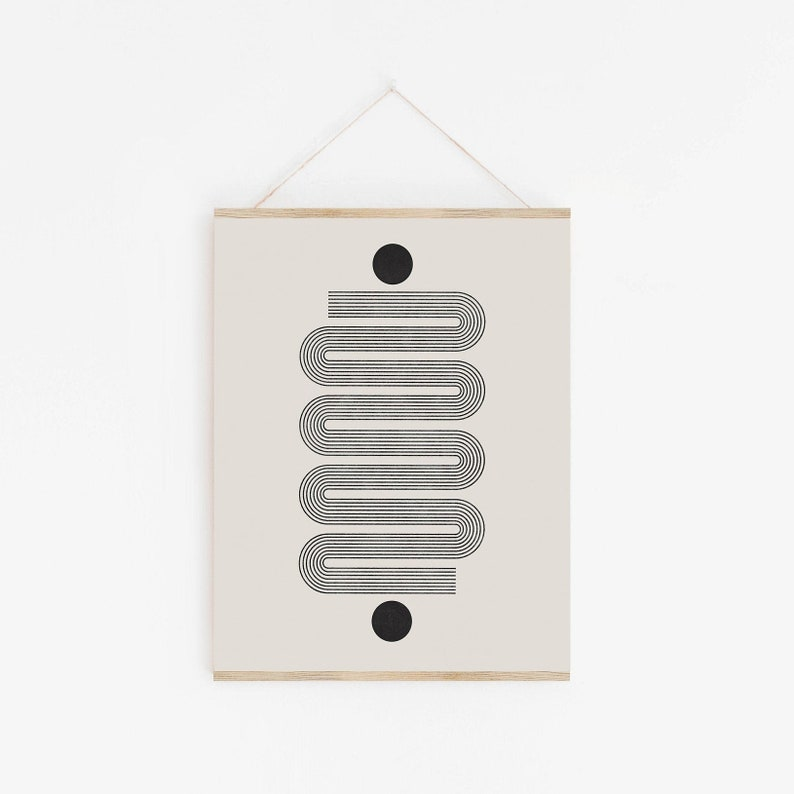 Mid Century Modern Abstract Arch Print Woodblock Style image 0