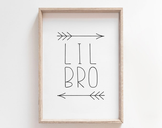 Little Brother Nursery Decor Printable, Lil Bro Kids Room Art, Little Brother Gifts, Wall Art Printable
