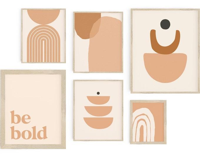 Printable Gallery Wall Set, Abstract Boho Set Of 6 Prints, Boho Gallery Wall Print Set Instant Download