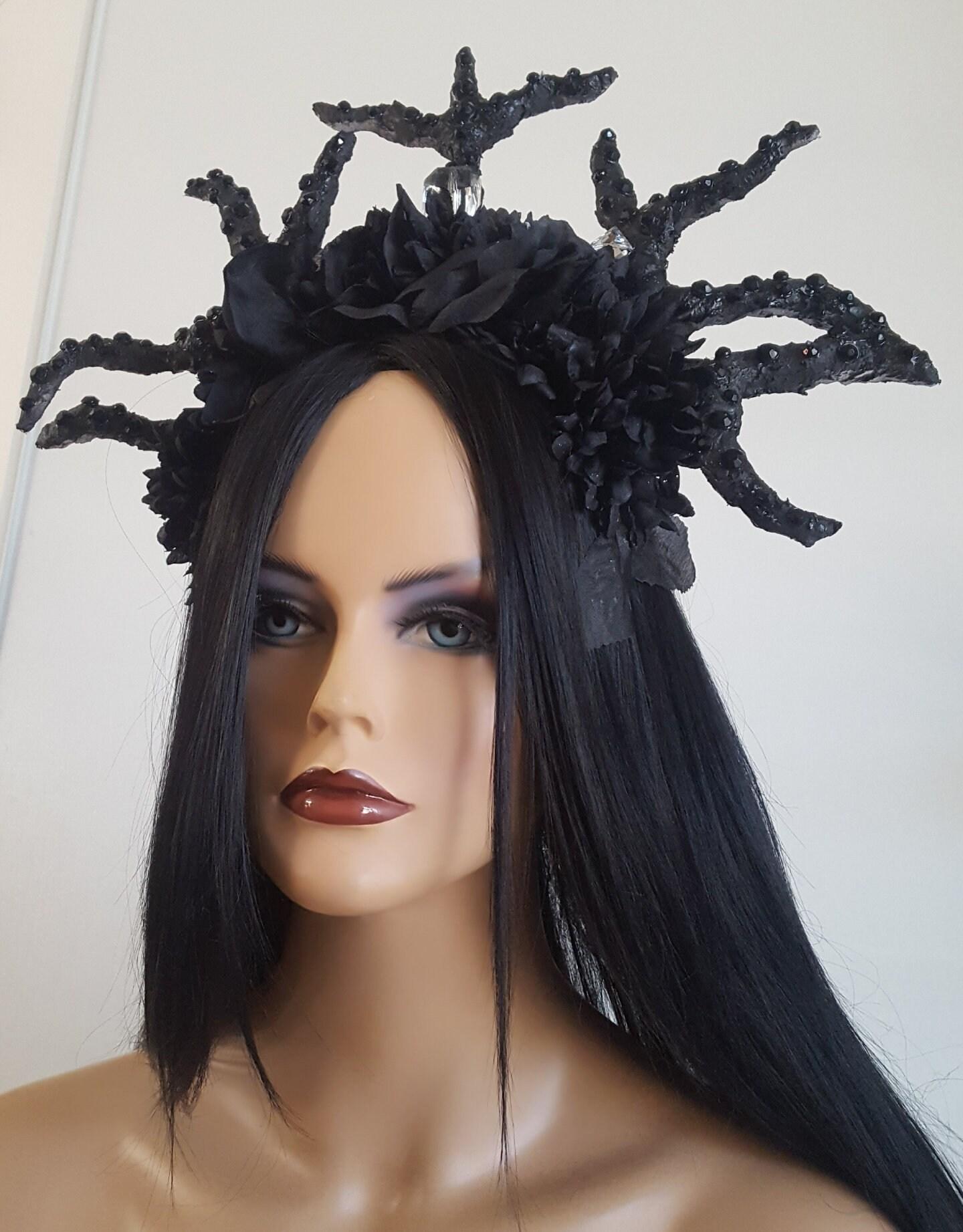 Black Flower Crown Black Crown Black Rose Black Rose Headpiece