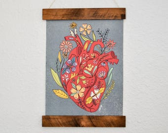 Watercolor Human Heart Art Print - Floral Heart Print - Anatomical Heart with Flowers - Heart Print - Medical Student