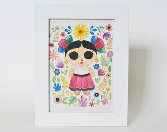 Watercolor Art Print Mexican Folk Art Mexican Doll Art Mexican Art Print Floral Print Handmade Paper
