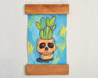 Wooden Rail Handmade Paper - Cactus Art Print - Potted Cactus Wall Art - Succulent Art Print - Home Decor - Wall Art