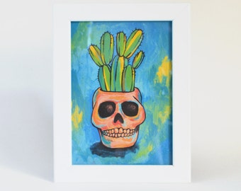 Skull Potted Cactus - Cactus Art - Skull Planter - Art Print on Handmade Paper - Home Decor - Office Decor - Cactus Print