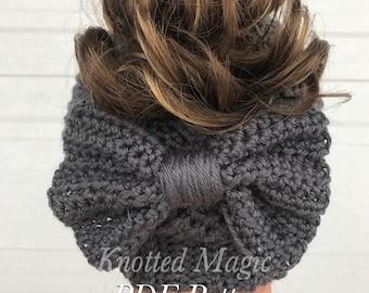 Cady Bow Bun Hat PDF, Crochet Bun Hat Pattern, Digital Download,