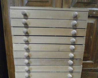 Now SOLD **** Pine 16 Drawer Coin Collectors Cabinet