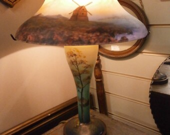 Table Lamp, Glass base and Shade - Vintage
