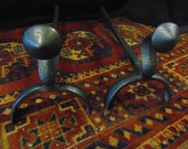 Pair Wrought Iron Andirons Fire Dogs