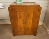 Original Art Deco Walnut and Burr Walnut Cupboard