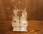 Victorian Silver Plate 4 Bottle Condiment on Stand