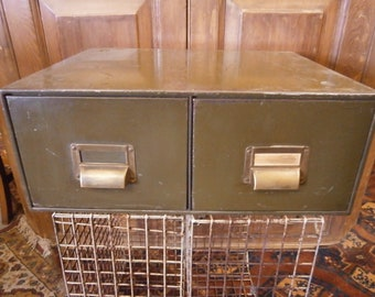 Table Top Twin Drawer Filing Cabinet - Vintage