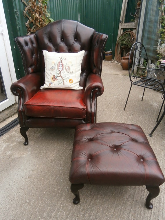Oxblood Leather Wingback Chair And Matching Stool Vintage | Etsy