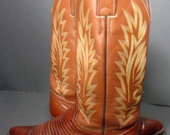 ac64748dc6a85 Taille Justin Brown lézard cuir Western bottes femmes 6.5