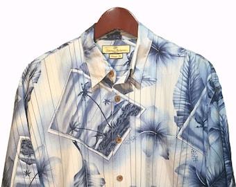 6f85bf76 Size L    Tommy Bahama Blue Floral Beach Print 100% Silk Hawaiian Shirt Men     Aloha Surf Boat Aloha Hula Tropical Tiki Short Sleeve Beach