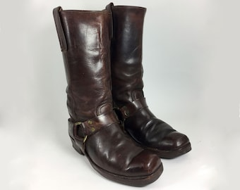 13 inch engineer boots brown mens
