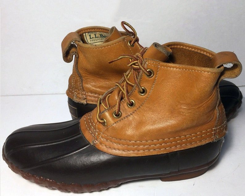 9cea71aaedbed Vintage LL Bean Brown Leather & Robber Duck Rain Boot Women's Size 9