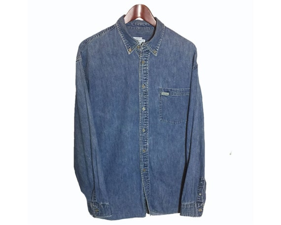 attractive colour value for money top-rated latest Size L || Calvin Klein Blue Denim Jeans Cotton Western Cowboy One Pocket  Shirt Men Size Large || Country Vintage Button Down Long Sleeves