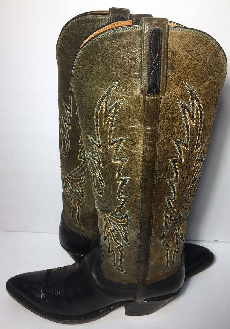 e1170f4bb8c Lucchese 1883 Green Black Leather Western Cowgirl Boots Women's Size 9