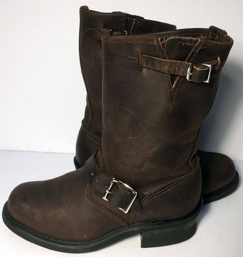 Frye 77400 Engineer Brown Leather Motorcycle Boots Women S Etsy