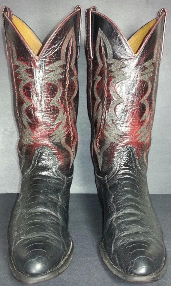 Cowboy Homme Jambe Bottes Noir Sz Etsy De Cerise Lucchese Autruche AHB80q8