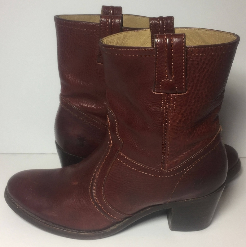 b1d0566f4a5f FRYE 76400 Jane Trapunto Bootie Red Leather Riding Motorcycle