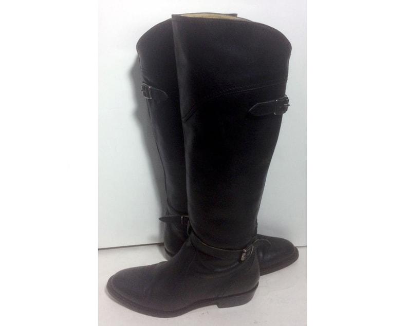 67d7f594de8 Frye 77560 Dorado Riding Black Leather Motorcycle Boots Women's Size 7