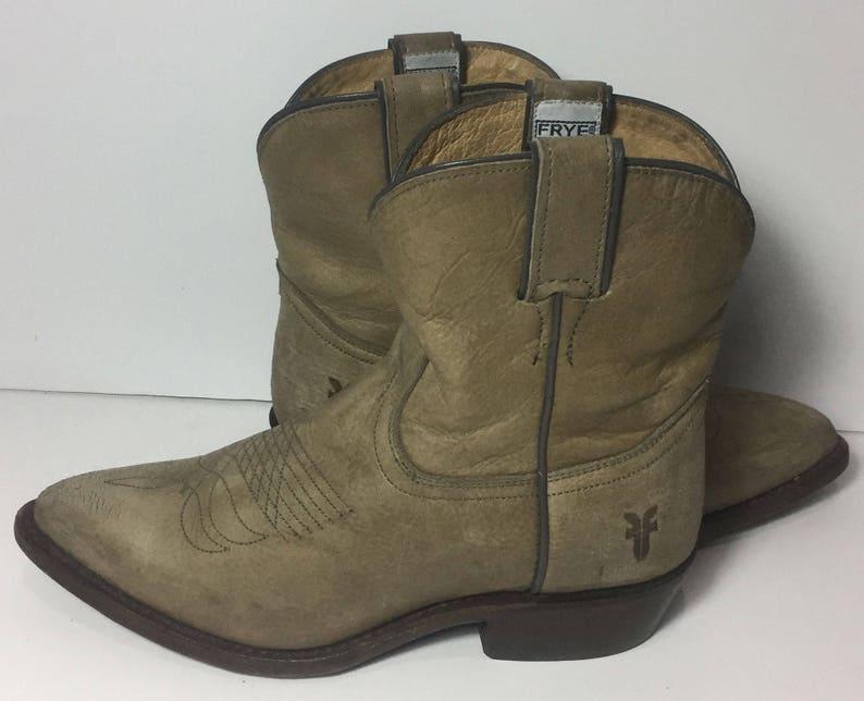 e7529ae7ba1 Frye 77815 Billy Short Khaki Leather Western Cowboy Cowgirl Boots Women's  Size 7