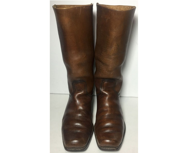 f065ea4a3d71e Frye Vintage Brown Leather Motorcycle Cavalry Riding Biker Boots Men's Size  10 D