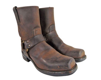 FRYE 87400 HARNESS BROWN Leather Motorcycle Boots Men Size 9.5    Riding Biker    Made in U.S.A.