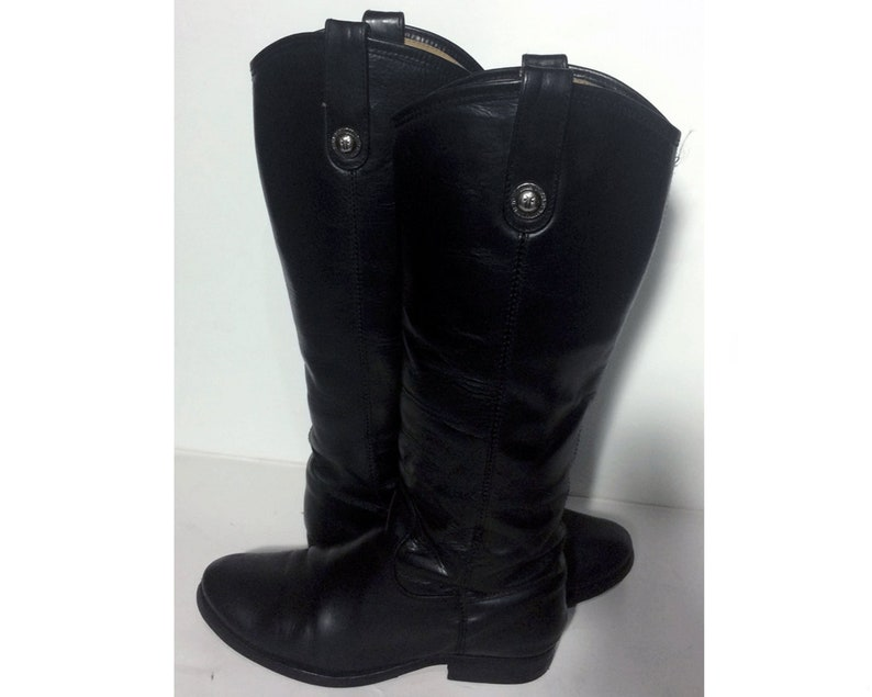 950684e3131 Frye 77167 Melissa Black Leather Motorcycle Boots Women's Size 6.5