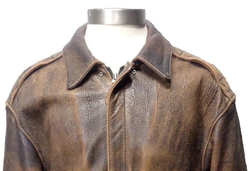 c1d20dba0cc Size S Men AVIREX A-2 Vintage Brown Leather Bomber Jacket