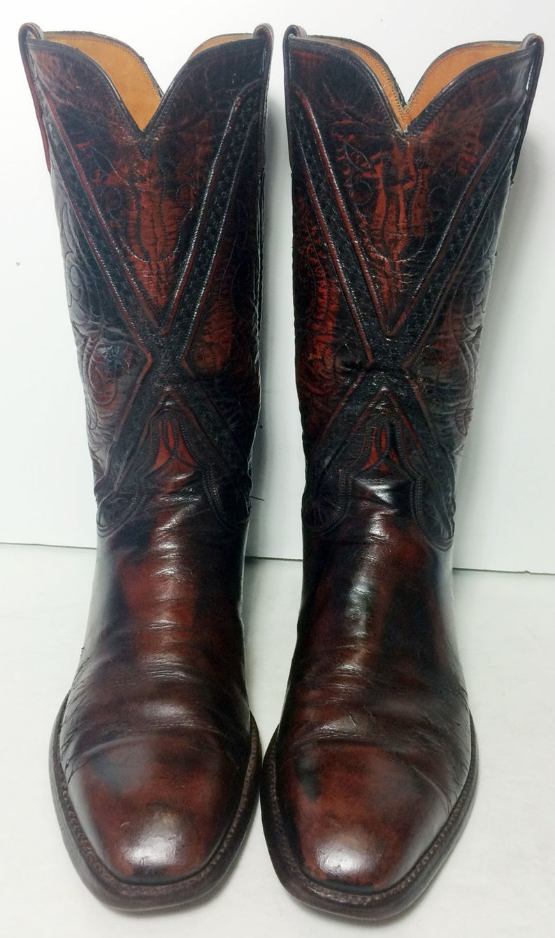 ac6bfe1d264 LUCCHESE Burgundy Leather Western Cowboy Boots Men's Size 10 D