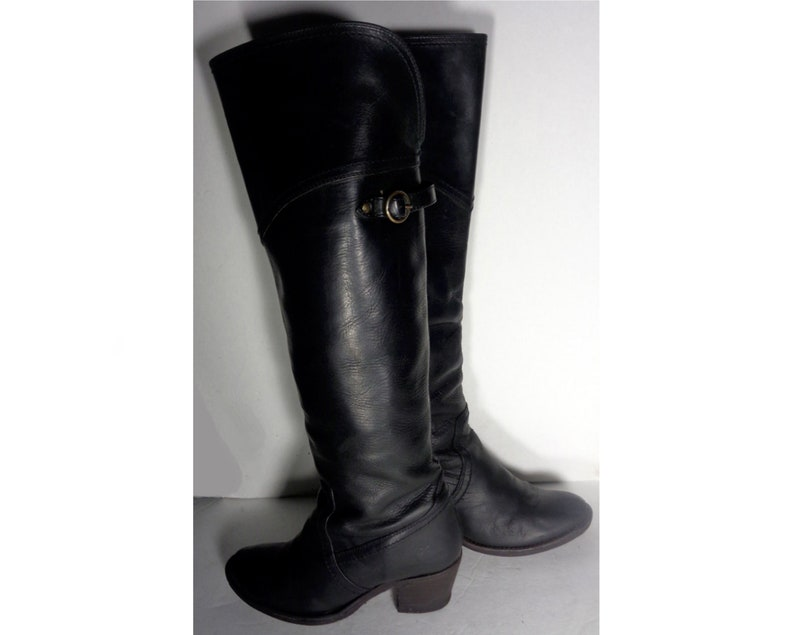 a8f0af8bce1 FRYE 77596 Jane Tall Cuff Black Leather Boots Women's Size 6