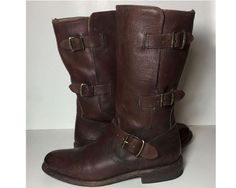 4997688b65b80 7 US || 37.5 Euro || 5 UK || FRYE 76318 Jayden Moto Cuff Engineer Brown  Leather Motorcycle Boots Women's Size 7 || Biker Rinding Buckle Lady