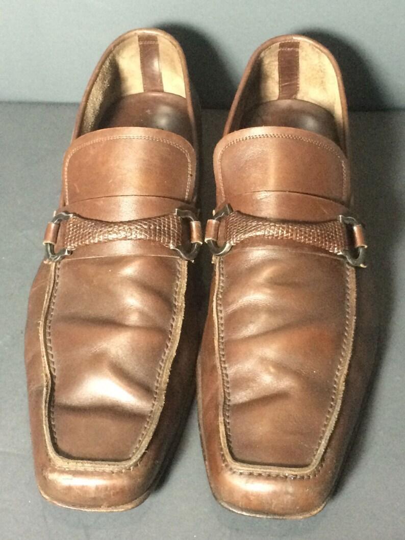 5c9e1b0fc39 SALVATORE FERRAGAMO Brown Penny Loafers Men s Shoes Size